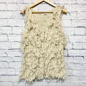 Jodifl Cream Yarn Fringe Textured Vest